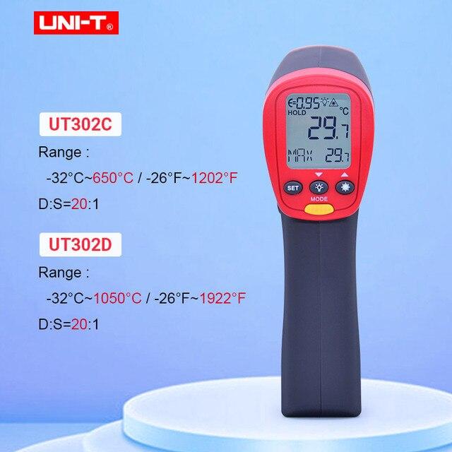 UNI T UT302A UT302C UT302D عدم الاتصال ميزان الحرارة الرقمي يده درجة حرترة تحت الحمراء بندقية 100% الأصلي