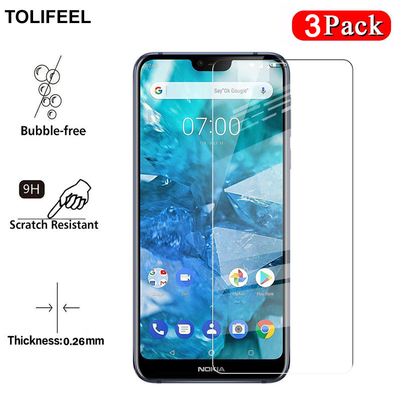 3PCS TOLIFEEL 2.5D 9H Tempered Glass For Nokia 7.1 Screen Protector Transparent Protective Film For Nokia 7 2018 7.1 Glass