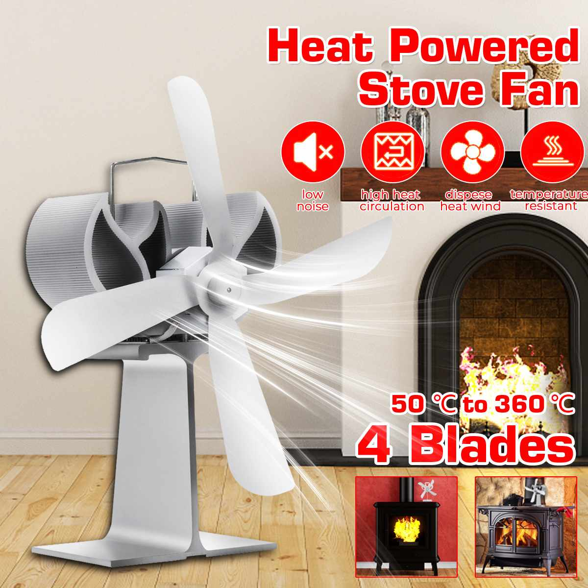 NEW White Stove Fan 4 Small Blade Fireplace Fan Heat Powered Wood Burner Eco Fan Friendly Quiet Home Efficient Heat Distribution