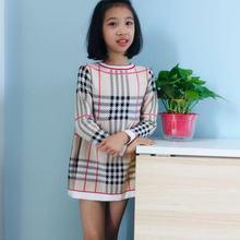 Осень-зима г. стильный свитер для девочек клетчатая юбка в Корейском стиле трикотажное платье с длинными рукавами детская одежда Dalang