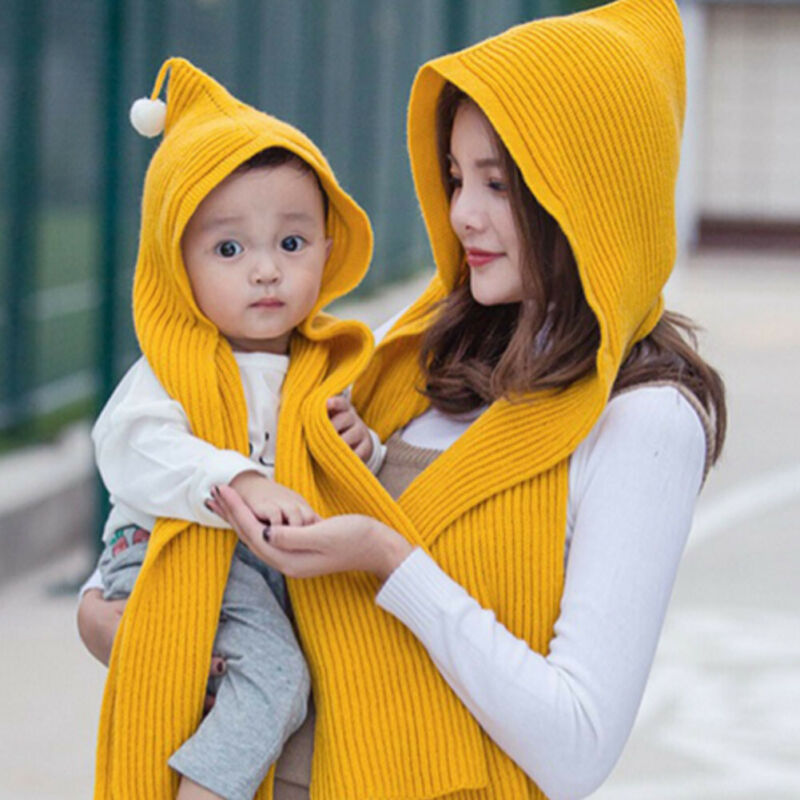 Mom  Baby Knitted Hat Scarf Caps  Warmer Winter Hats For Men Women Skullies Beanies Warm Fleece Cap