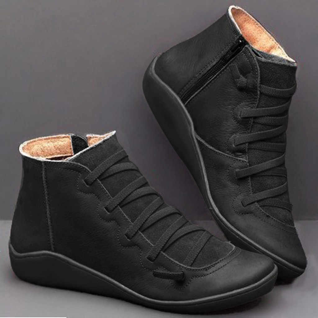 Women's Casual Flat Leather Retro Lace-up Boots Side Zipper Round Toe Shoe Leather Ankle Boots Zapatos Mujer Wram Botas Mujer#20