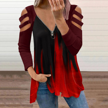Autumn Ladies Casual Fashion Floral Printed Sexy Off Shoulder Long Sleeve Tops Loose Ladies Female Women Blusas Pullovers Tops 1
