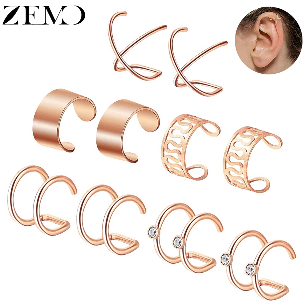 ZEMO 5pair/Lot Rose Gold Clip Earrings For Women Silver Black Gold Stainless Steel Cuff Earrings Female Fake Piercing Jewellery