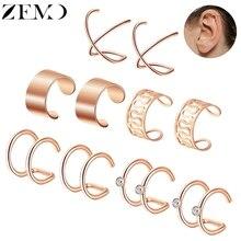 ZEMO 5pcs/Lot Rose Gold Clip Earrings for Women Silver Black Stainless Steel Cuff Female Fake Piercing Jewellery