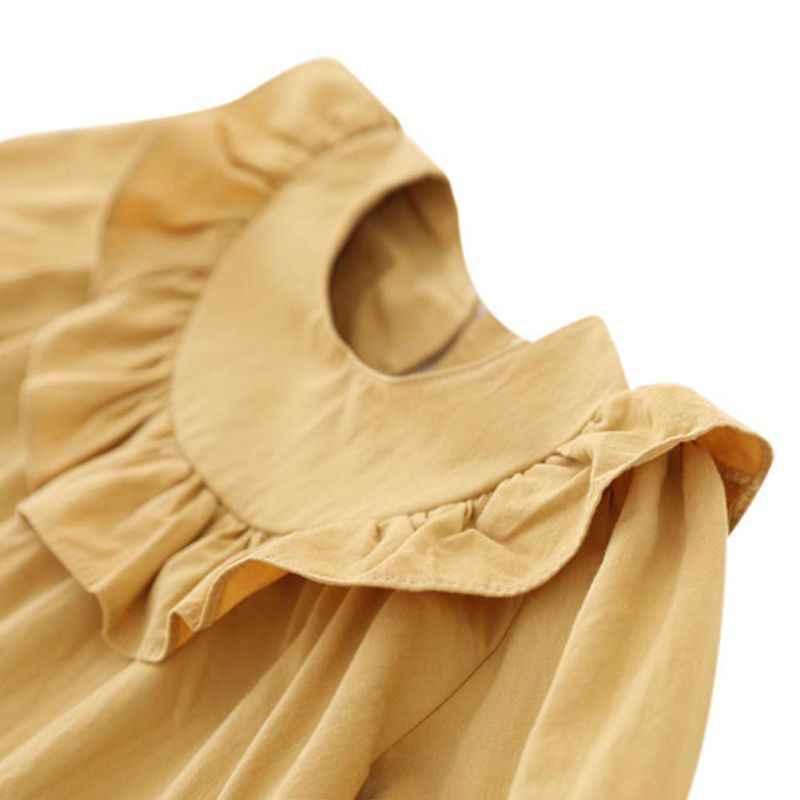 赤ちゃんの女の子の秋フリルシャツ長袖幼児女の子ブラウス蓮襟キッズガールトップス生き抜くのためのピンク、白、黄色 9-48M
