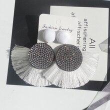 Tassel Earrings Bohemian Statement Luxury Long Earring African Colorful Handmade Women Geometric Fringe Fashion Big Rhinestone