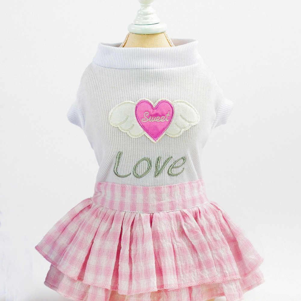 Подстилка для животных собаки принцесса платье собака Милая юбка Любовь Сердце шаблон для маленькой средней собаки принцесса платье