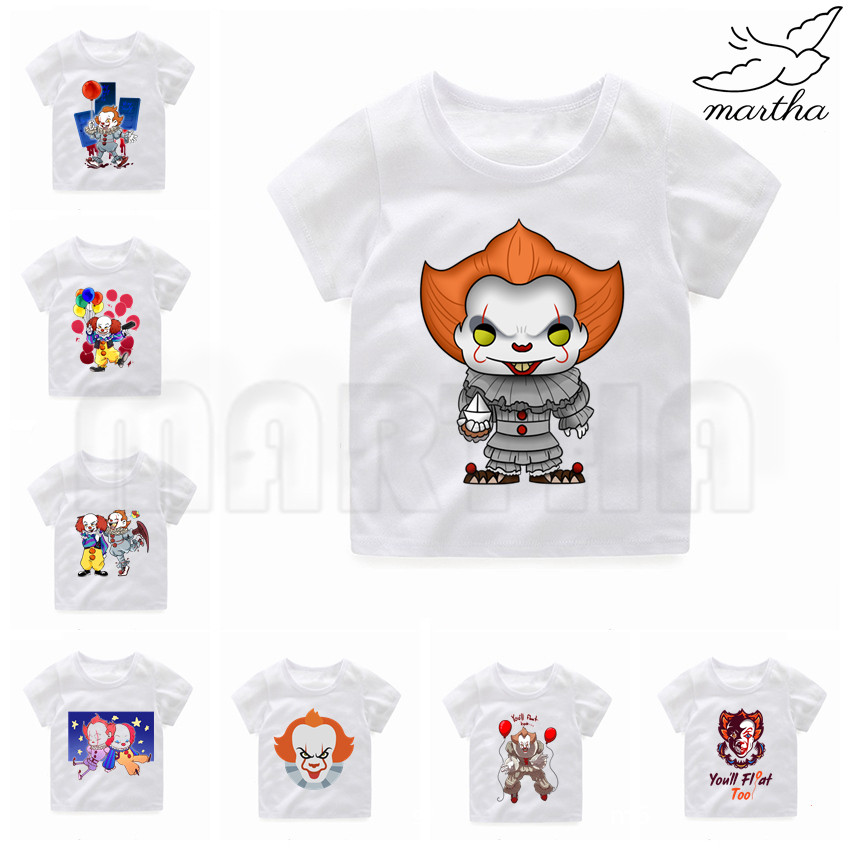 Pennywise Movie It Losers The Scary Creepy Clown Baby Girls White Tshirt Boy T-shirts Kids Children's Tops Girl's Summer Tee