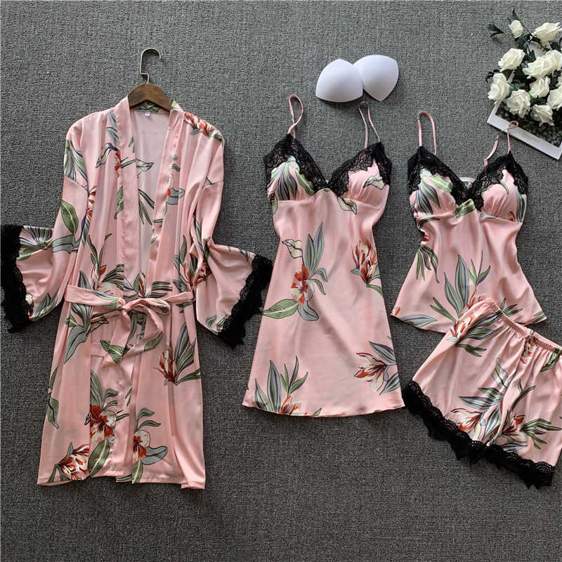 Lisacmvpnel Pajamas Woman 4 Pcs Set Sleepwear Silk Sexy Camisole Shorts Robe Suit Long Sleeve Printing Pijama