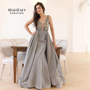 DuBai Gray Glitter Sparkling Mermaid Sexy Womens Evening Gowns 2019 V-Neck Appliques Arabic Robe Soiree Party Dress OL103259 - DISCOUNT ITEM  50% OFF All Category