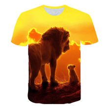 BIAOLUN 2019 Summer New Fashion Boys t-shirt Cartoon The Lion King Pumbaa 3D Print Girl Casual Cool t shirt Kid Tee