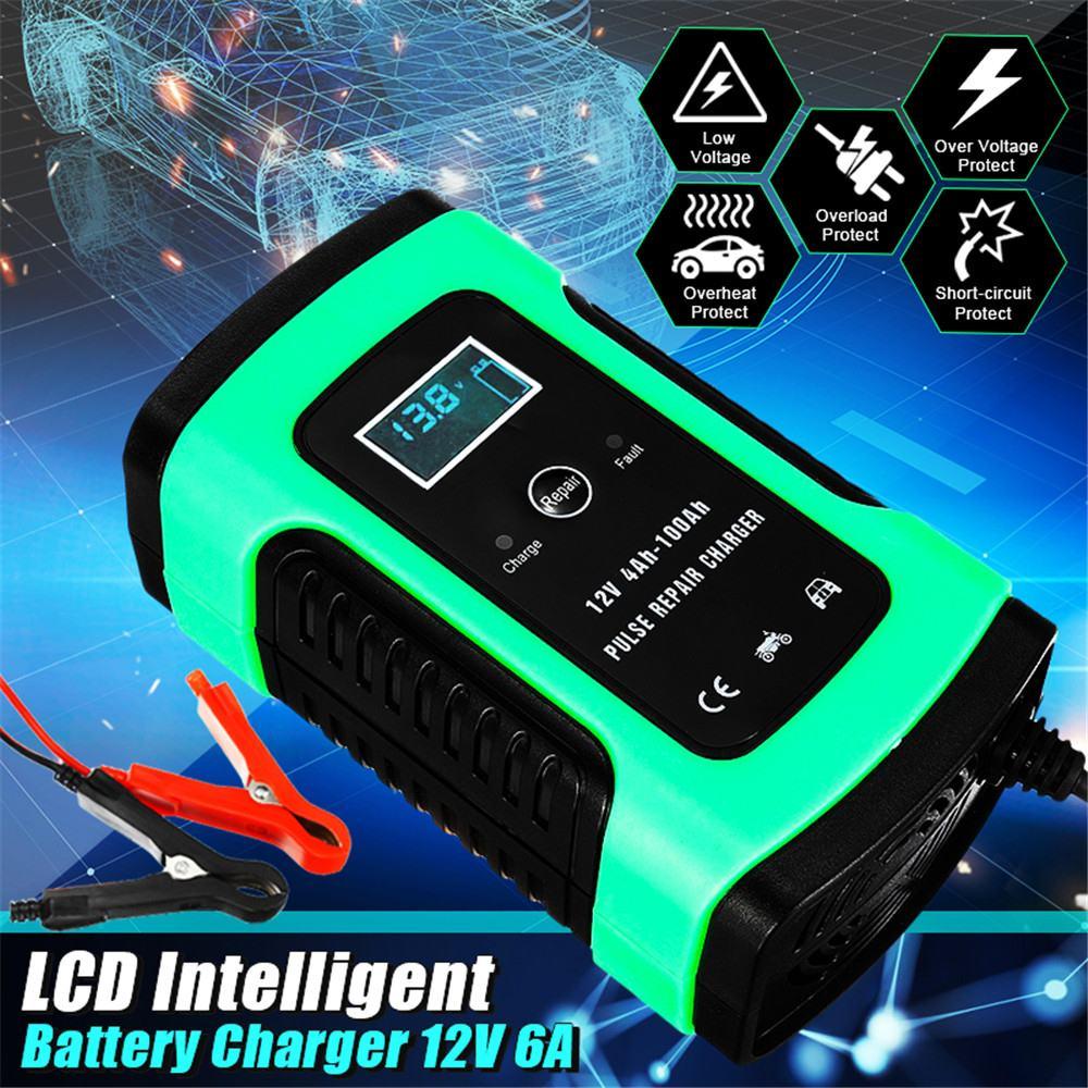 Chargeur de batterie de voiture entièrement automatique chargeur de batterie LCD Smart Fast 110V à 220V à 12V 6A pour les Batteries au plomb de moto automatique