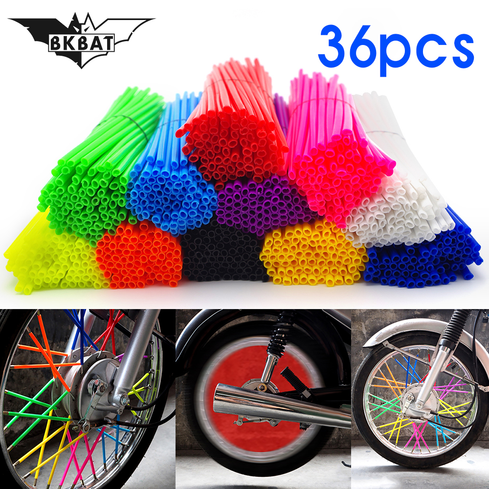 36 pcs Bike Wheel Spoke Motocross Rims Skins Cover Off Road Bike Motorcycle covers For Suzuki djebel <font><b>dr</b></font> <font><b>250</b></font> 650 Kawasaki klx kx image