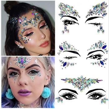 Temporary Rhinestone Glitter Tattoo Stickers Face Jewels Gems Festival Party Makeup Body Flash Fake Tattoos