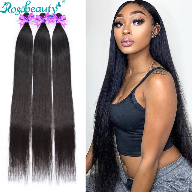RosaBeauty 28 30 32 40 Inch Natural Color Brazilian Hair Weave 1 3 4 Bundles Straight 100% Remy Human Hair Extensions Weft deals