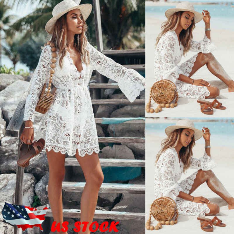 2019 Baru Musim Panas Wanita Bikini Cover Up Floral Renda Hollow Crochet Baju Renang Cover-Up Terusan Tunik Beach dress Panas