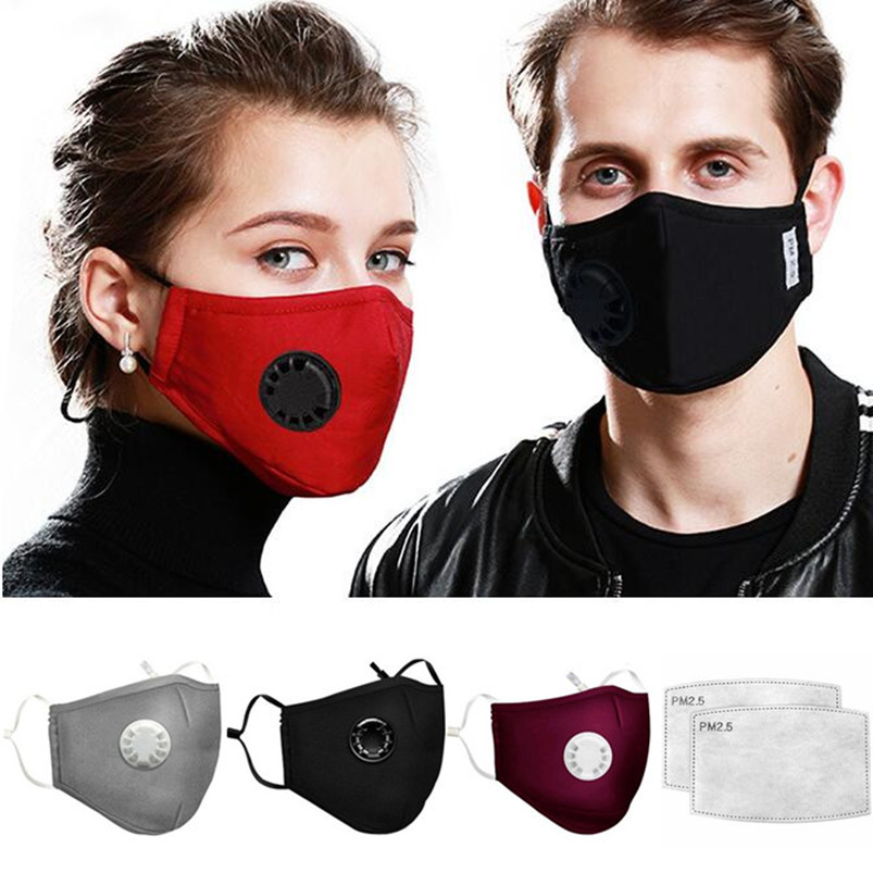 Anti Pollution Breathable Cotton Face Mask PM2.5 Anti-Dust Mouth Masks With 2pcs Filters Washable Respirator Mouth-muffle