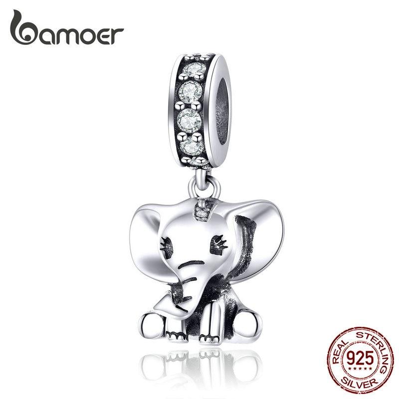 Bamoer Baby Elephant Pendant Charm Silver 925 Jewelry Original Bracelet Neckalce Cute Animal Fashion Jewelry Accessories SCC1338