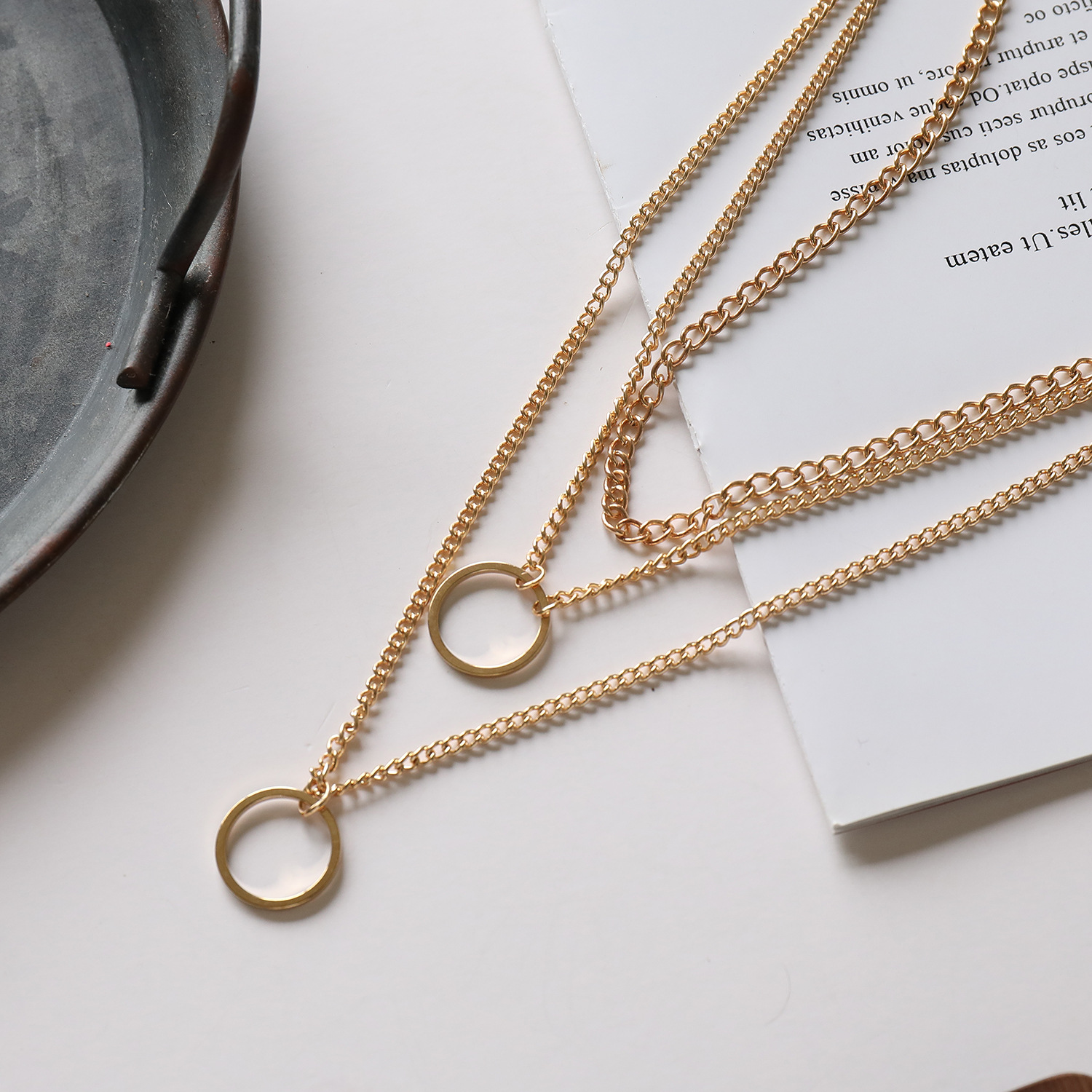 Alloy Circles Pendant Necklace for Women Gold Silver Color Layered Necklaces Female 2020 Fashion Jewelry Clavicle Chain New