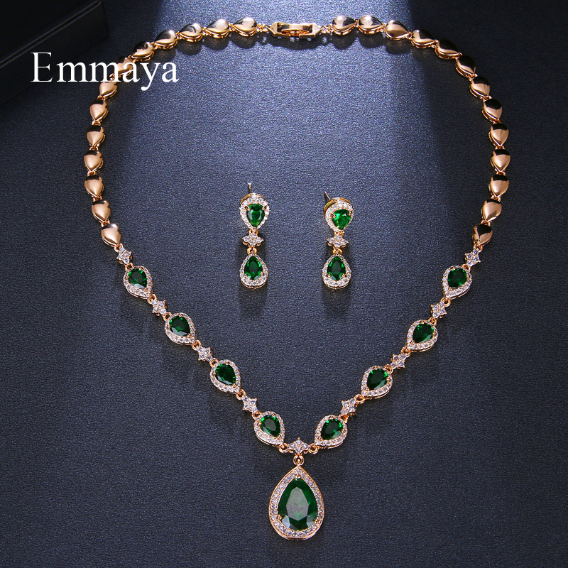 Image 2 - Emmaya New Arrival Rose Gold Green Waterdrop Appearance Zirconia Charming Costume Accessories Earrings And Necklace Jewelry SetsBridal Jewelry Sets   -