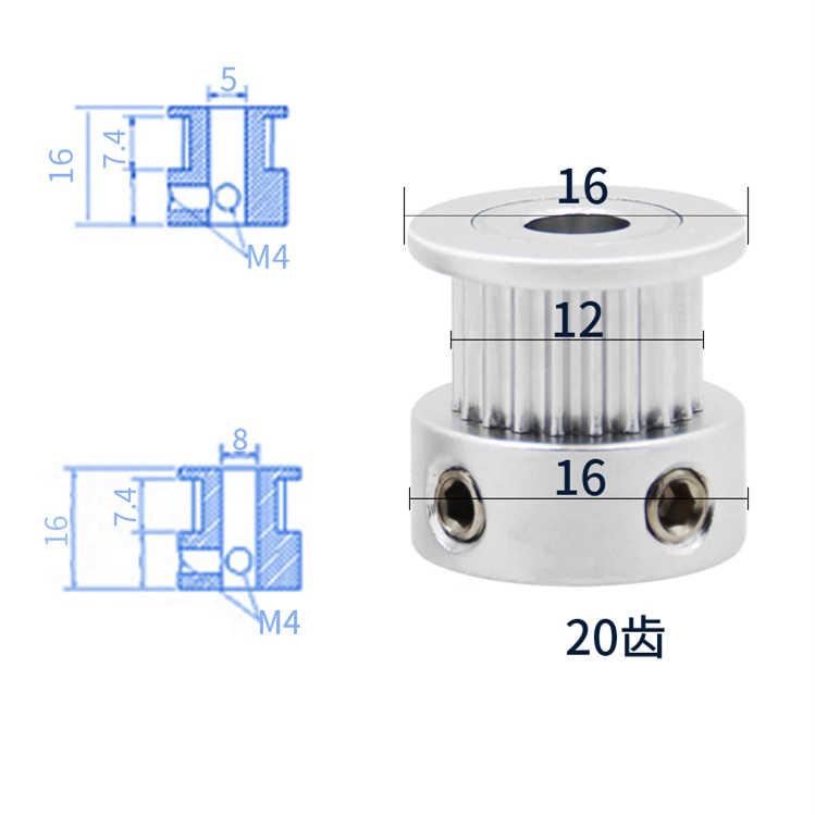 1Pcs อลูมิเนียม GT2 6 มม.กว้าง 20 ฟัน 2GT Timing Drive รอก Pully ล้อเกียร์สำหรับ 3D เครื่องพิมพ์ BORE = 4 มม./5 มม./6.35 มม./8 มม.