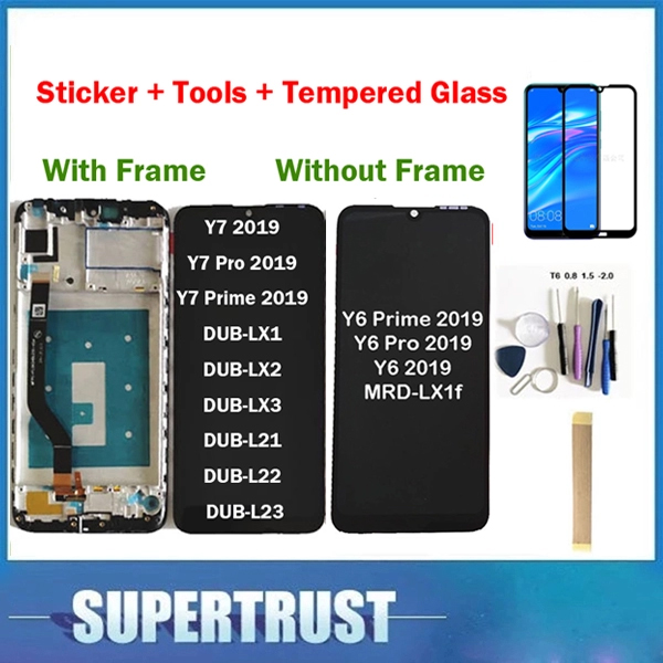 Original For Huawei Y7 2019 DUB-LX3 DUB-L23 DUB-LX1 Y7 Prime 2019 / Y6 2019 LCD Display Touch Screen With Tempered Glas