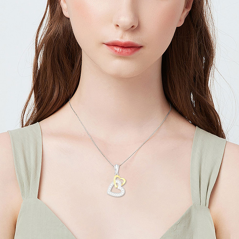 Wong Rain Romantic 925 Sterling Silver Created Moissanite Gemstone Double Love Heart Pendant Necklace Fine Jewelry Wholesale