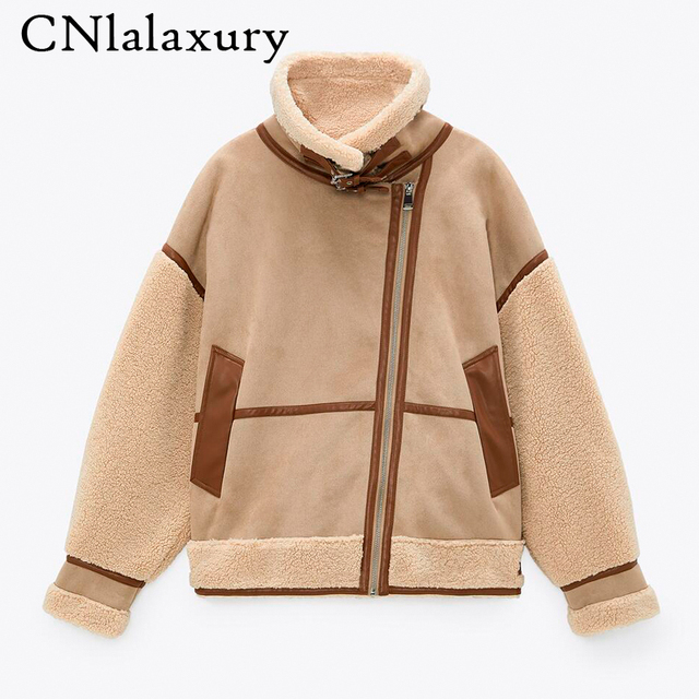 Winter Women Thick Warm Vintage Patchwork Suede Lambswool Biker Jackets Coat Chic Loose Faux Leather Outwear Top Female Overcoat 1