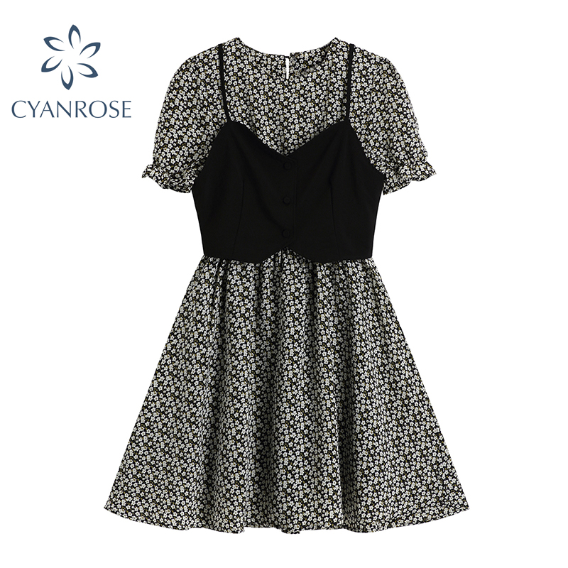 Vintage Short Sleeve Women's Dress With Strap Vest Elegant High Waist Mori Girl Dress Korean 2021 Summer Rok Beach Crop Frocks