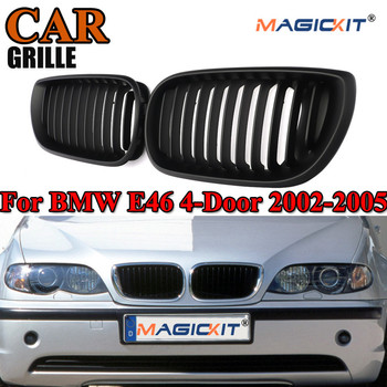 MagicKit Car Racing Grille for E46 Matte Black Kidney Sport Grilles Grill for BMW E46 Coupe 2-Door 2002-2005 Pre-Facelift image
