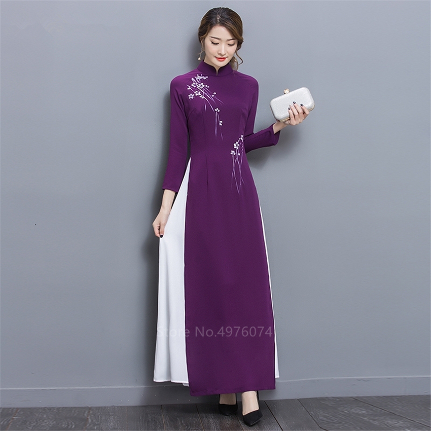 2019 New Folk Style Vietnam Robes Chiffon Aodai Graceful Dress Stand Collar Elegant Traditional Clothing Floral Cheongsam