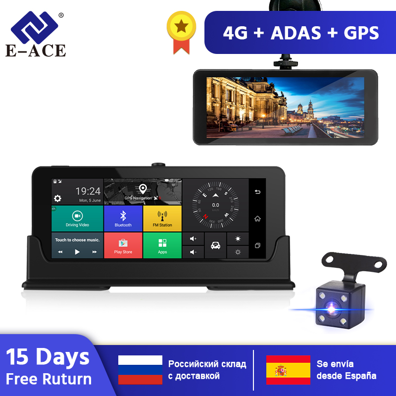 E-ACE e07 4g dvr gps câmera adas android dvr registro automático com navegação gps completo hd 1080 p gravador de vídeo duas câmeras vehicele