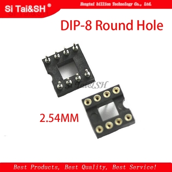 20pcs DIP-8 Round Hole 8 Pins 2.54MM DIP DIP8 IC Sockets Adaptor Solder Type 8 PIN IC Connector