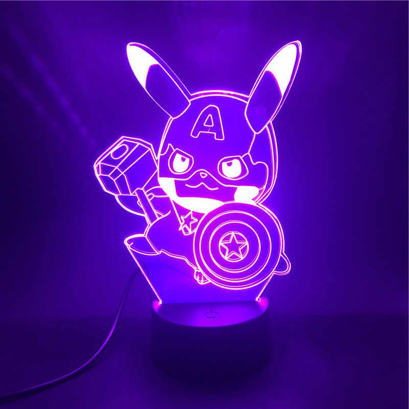 Pikachu Avengers 3D Đèn Khí Quyển Quà Tặng Tốt Nhất Cho Trang Trí Đồng Hồ Báo Thức Căn Cứ Chạy Bằng Pin USB Đèn Ngủ LED Đèn