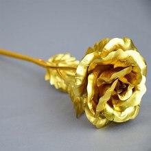 2 шт. 24 к золотые розы, цветы, фольга, светящаяся вечная фольга, Свадебная вечеринка, подарки на день Святого Валентина, искусственные цветы, у...