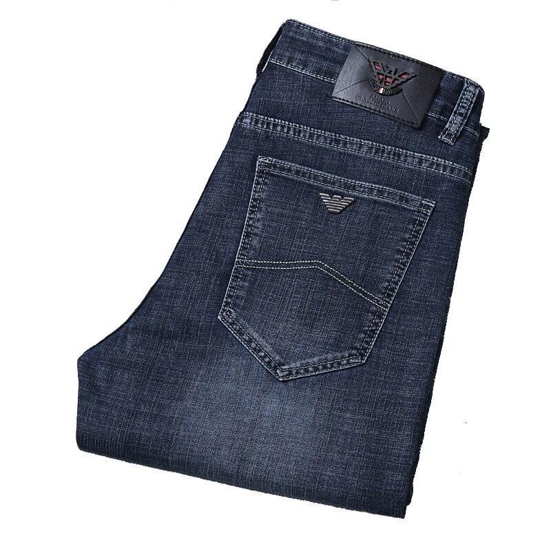 Italien Mode Herren Marke Denim Jeans Regular Fit Gerade Stil Dunkelblau Stretch Business Adler männer Smart Kausalen Jeans