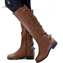 Sgesvier 2020 big size 34-43 women knee high boots zip buckle autumn winter boots square heels comfortable casual shoes ladies(China)
