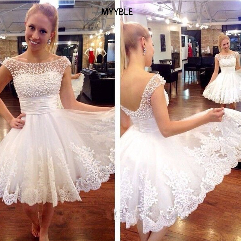 2020 White Short Wedding Dresses Brides Sexy Pearl Lace Knee-Length Wedding Dress Bridal Gown DressPlus Size Vestido De Noiva