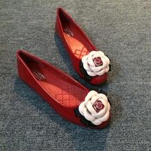 Плюс размер цветочные квартир женщин обувь весной и летом новый плоский красный черный лакированной кожи свободного покроя леди