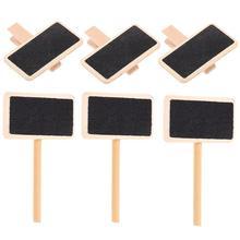 50pcs Little Blackboard Shape Memo Clips Photo Wooden Clamps (Assorted Color)