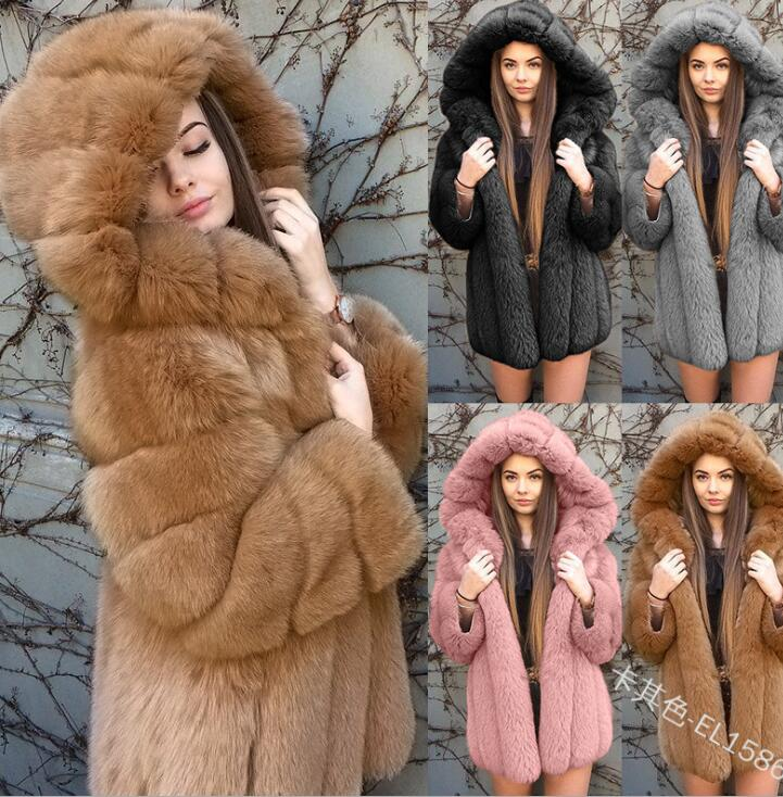Hooded Long Sleeve Women Coat Faux Fur Cotton Thicken Coat Plus Size Fur Hooded Parka Thick Cotton Coat Women Outerwear