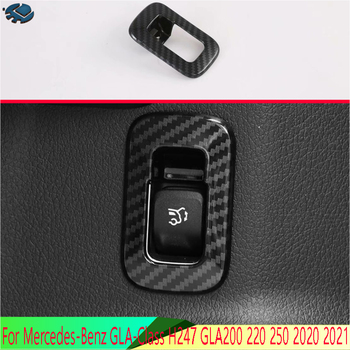 For Mercedes-Benz GLA-Class H247 GLA200 220 250 2020 2021 Carbon fiber style Tail door cover Switch Button Control Panel Cover image
