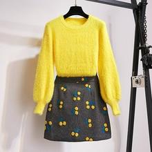 HAMALIEL Женский комплект из двух предметов Новая мода осень зима желтый мохеровый пуловер с рукавами и шерстяная мини-юбка с вышивкой