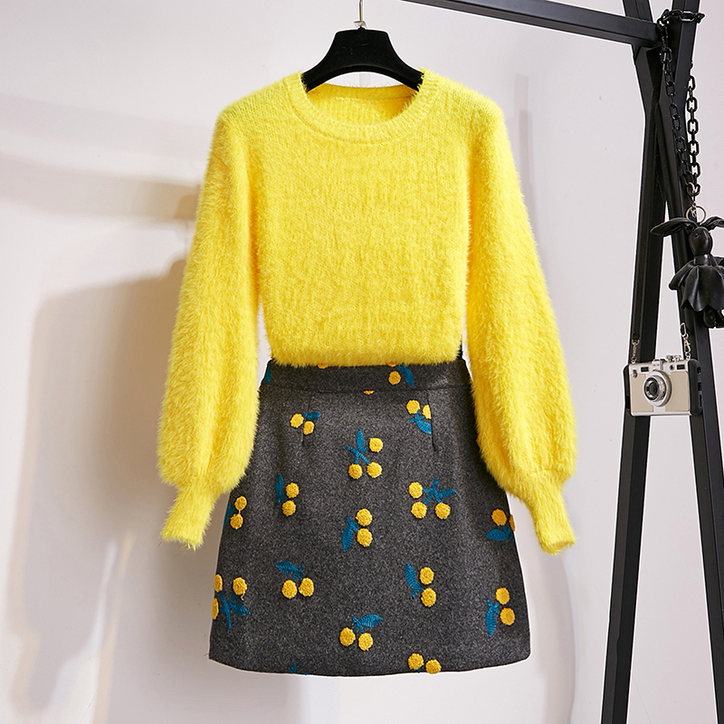 HAMALIEL Women Two Piece Set New Fashion Fall Winter Yellow Mohair Lanter Sleeve Pullover And Woolen Embroidery Mini Skirt Set