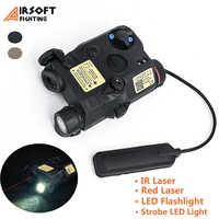 Airsoft-láser rojo PEQ15 LA-5C, linterna LED blanca, batería estroboscópica, caja de arma táctica, luz de pistola para riel Picatinny de 20mm