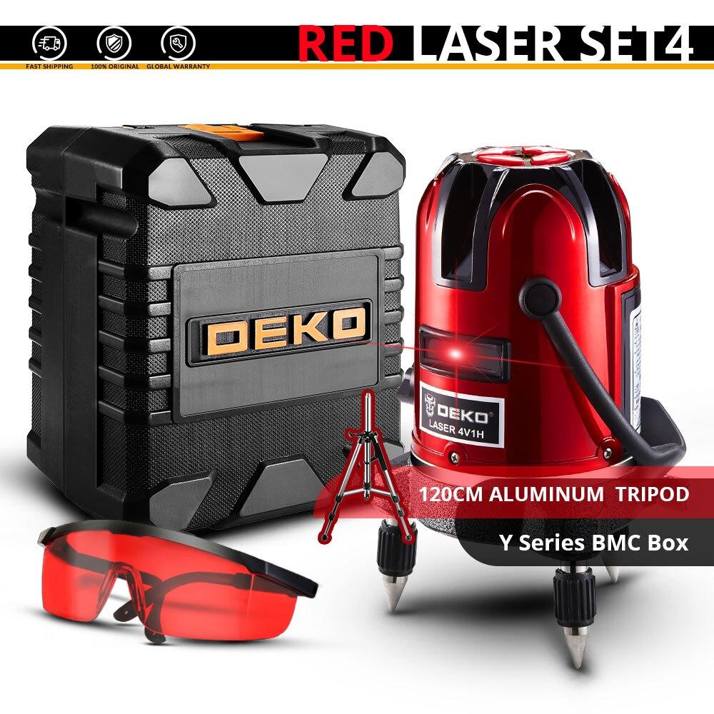 DEKO лазерный нивелир 5 линий 6 точек 360 вертикальное и горизонтальное поворотный Крест лазерной линии выравнивания w/Oxfrod чехол может использовать приемник - Цвет: LL58-SET2