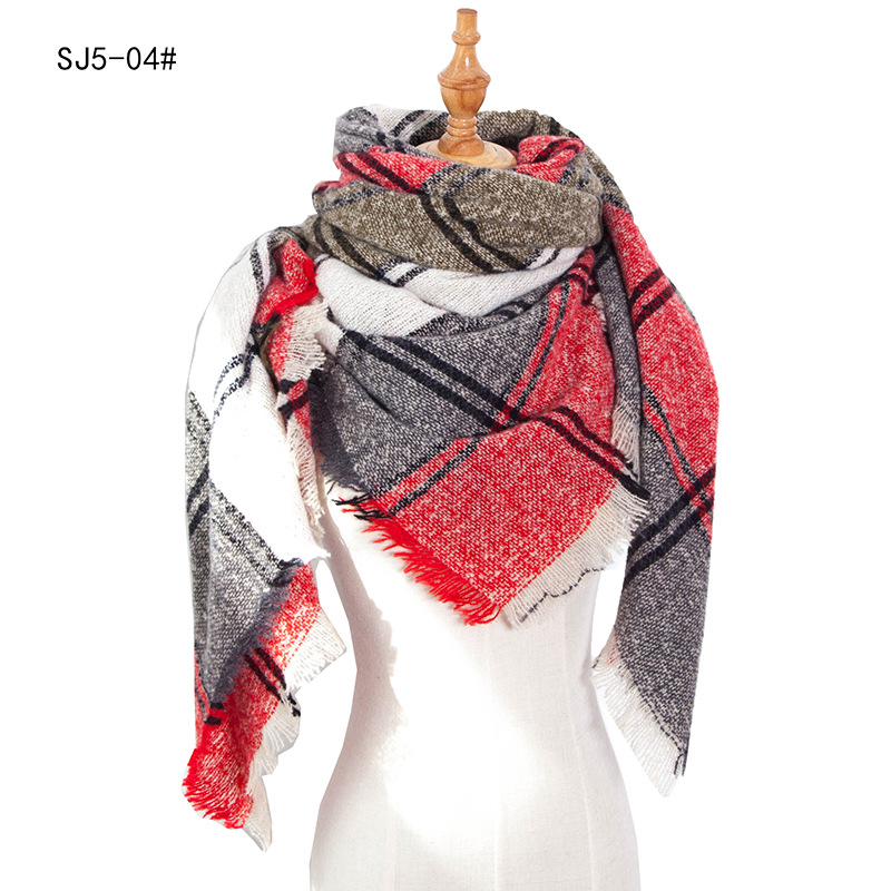 2020 Patchwork Contract Color Women Autumn Scarf Simple Design Triangular Casual Neck Scarves Shawls for Lady Cashmere