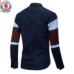 Image 2 - Fredd מרשל 2020 חדש אופנה טלאי חולצה גברים מזדמנים מותג בגדי זכר 100% כותנה ארוך שרוול Colorblock חולצה חולצות 219