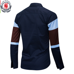 Image 2 - Fredd Marshall 2020 New Fashion Patchwork Shirt Men Casual Brand Clothing Male 100% Cotton Long Sleeve Colorblock Shirt Tops 219